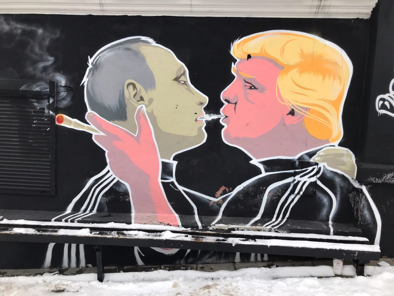 Vilnius Lithuania, Trump-Putin Street Art