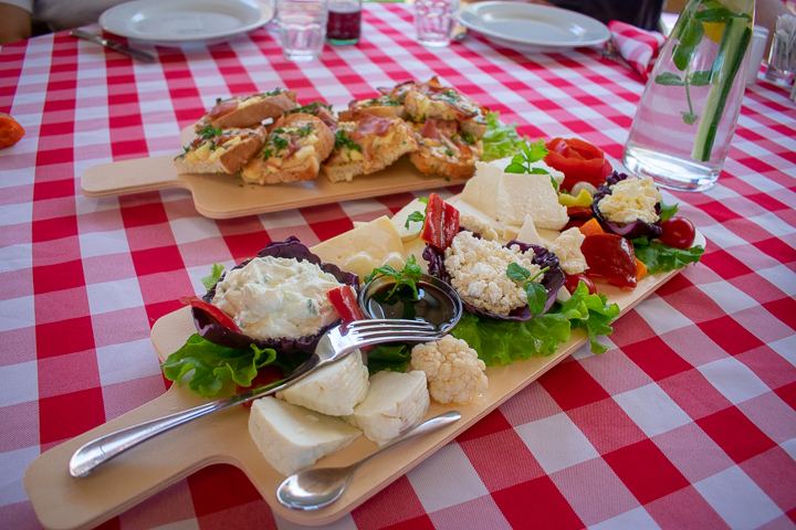 Cheese platter at Pema e Jetes Farm, Durres, Albania