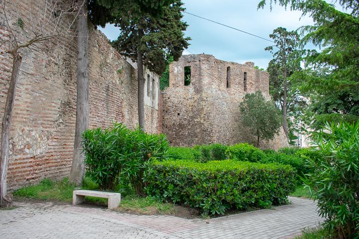 The city walls of Durres Castle Albania