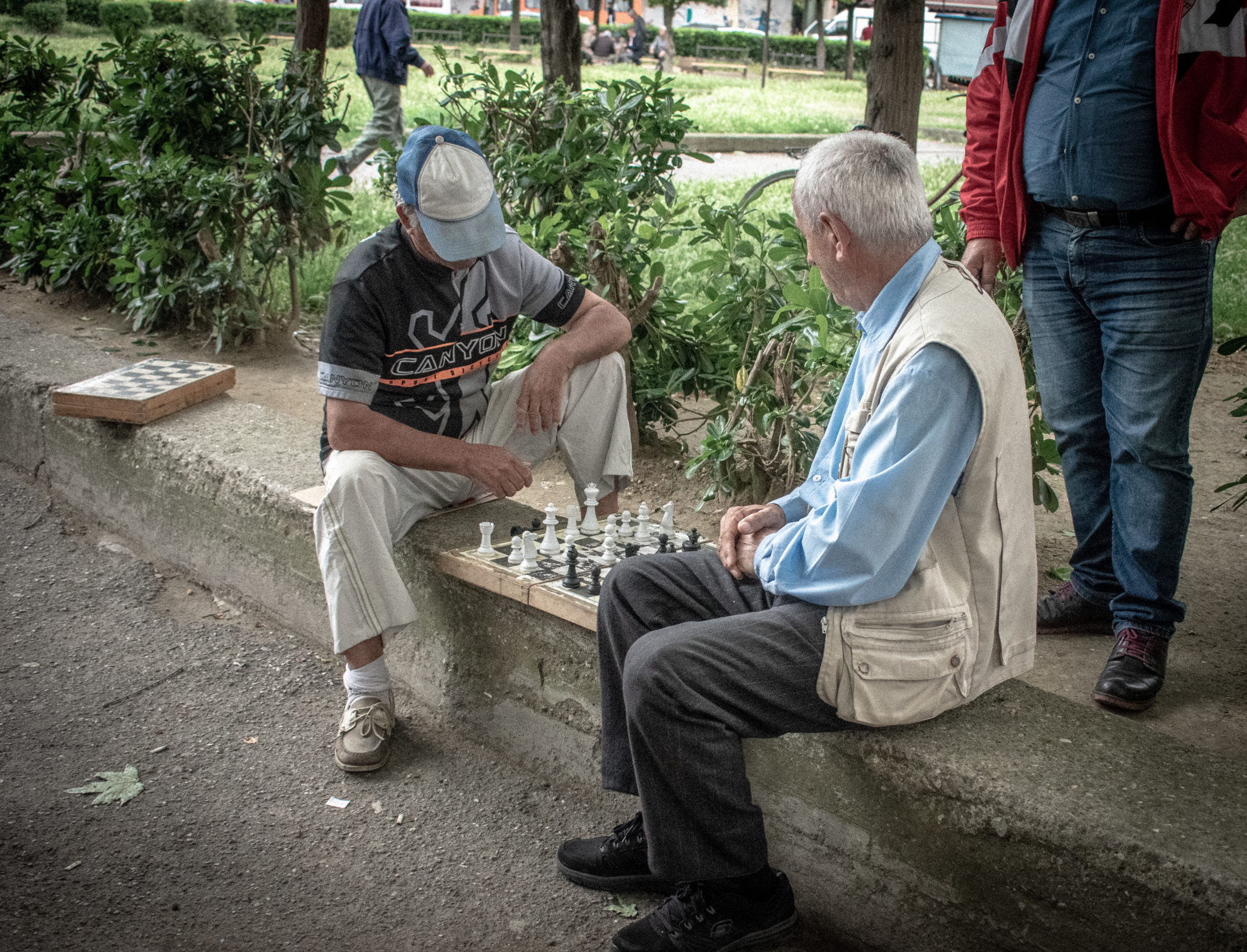 Men Play Chess in Durres Albania