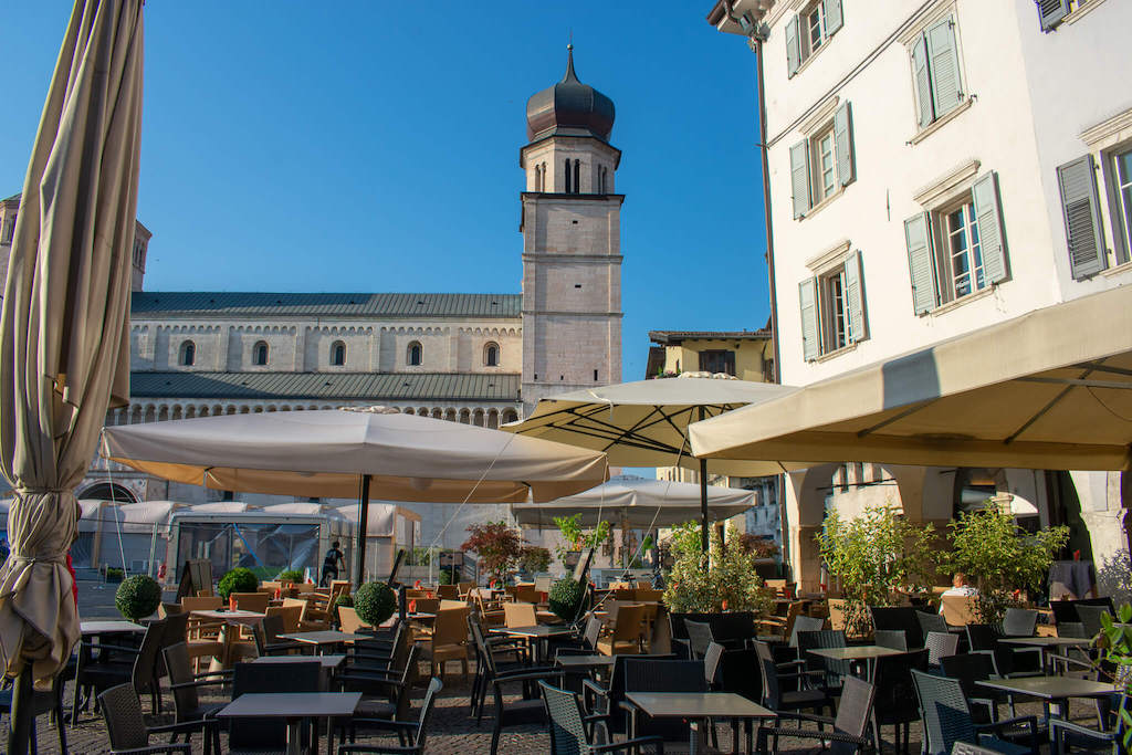 Visit Trentino Italy - Outdoor seating at a restaurant in Trento City
