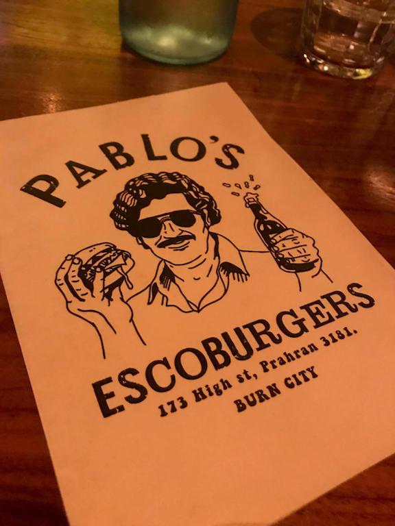 Pablo's Escoburger Burger Melbourne Menu