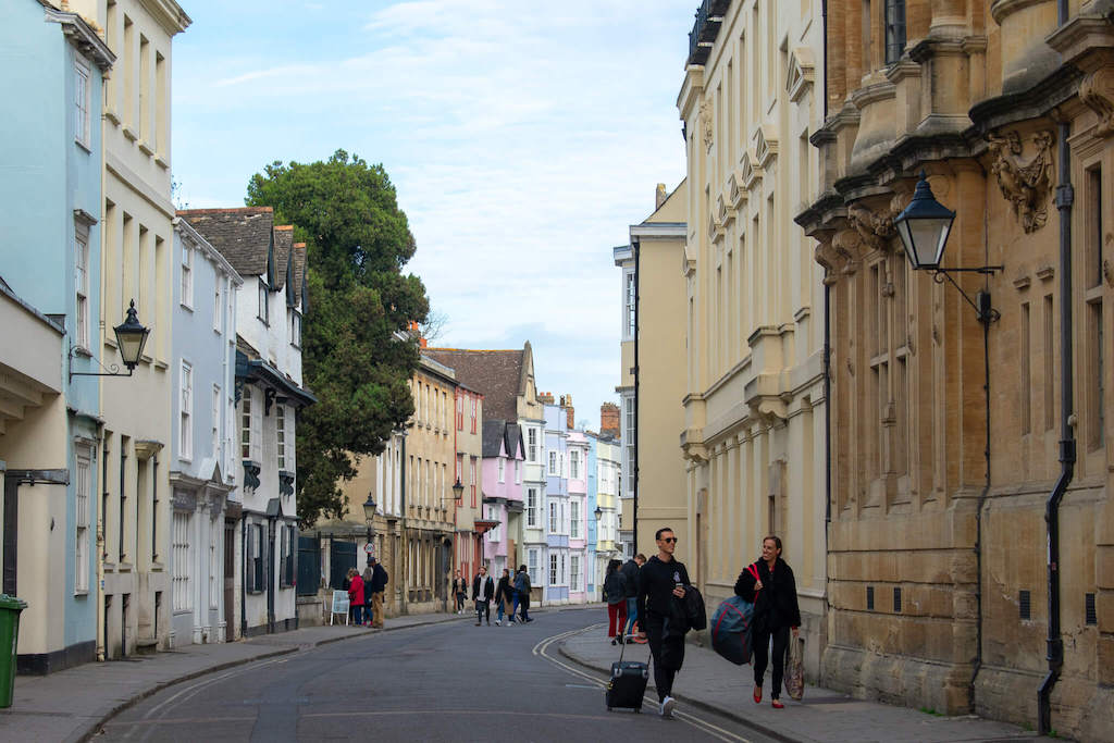 Row of colourful pastel coloured houses in Oxford