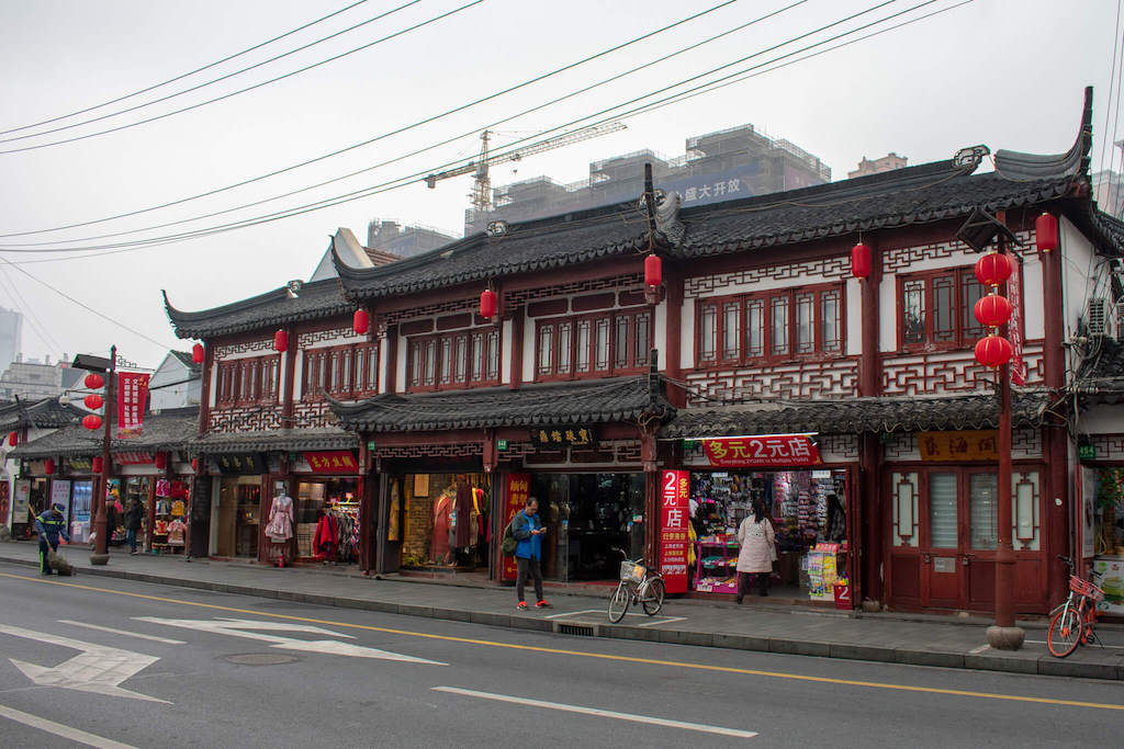 Shanghai Old Street, row of traditional buildings with Chinese lanterns