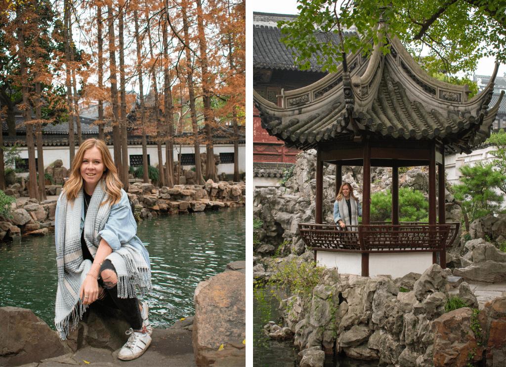 Shanghai Yu Garden, girl in garden with pond and trees