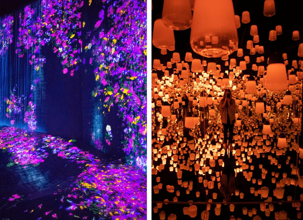 Shanghai teamLab Borderless art museum, floating lanterns in orange