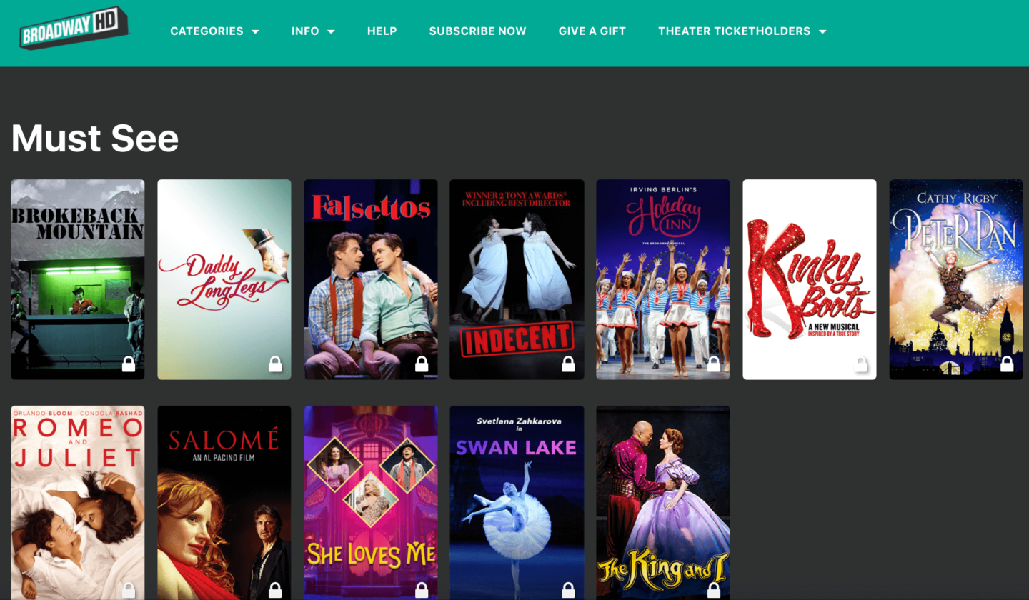BroadwayHD screenshot of website with theatre shows for at home date night
