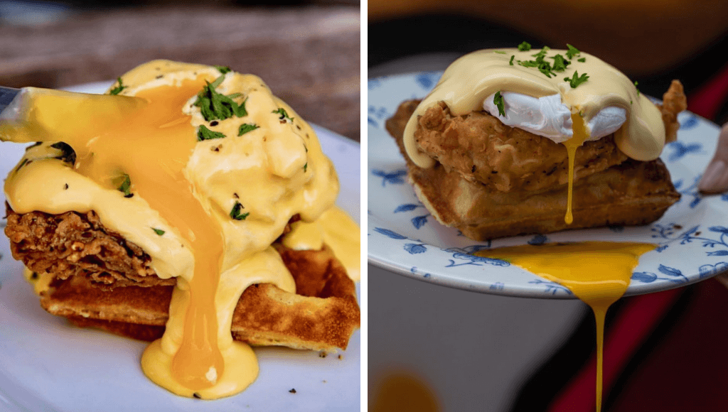 Chicken and waffles with poached egg and hollandaise sauce at Absurd Bird London