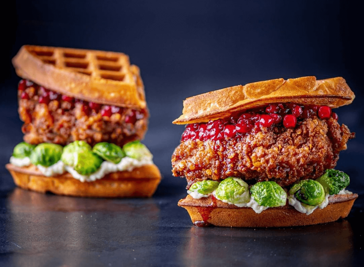 Turkey and waffles with cranberry sauce and brussel sprouts at Dirty Bones London