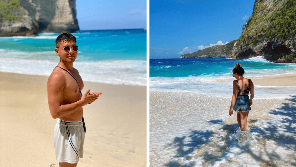 Nusa Penida KelingKing Beach, blue sea and golden beach