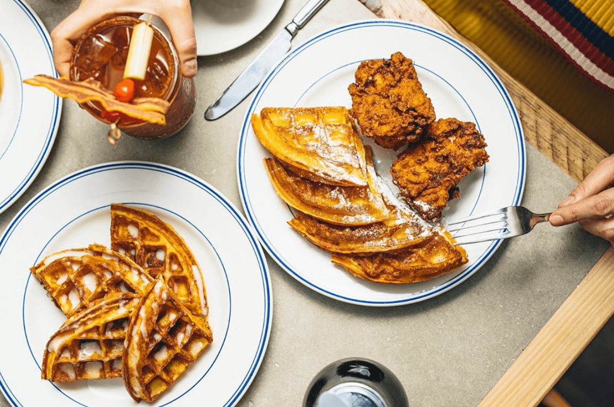 Chicken and waffle flat-lay on table