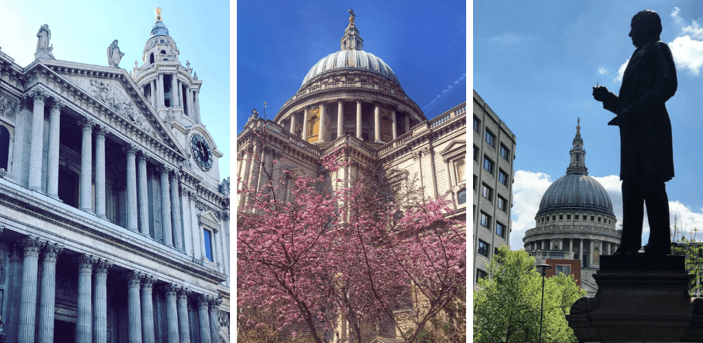 St Pauls Cathedral in London, domed roof with pink flowers outside