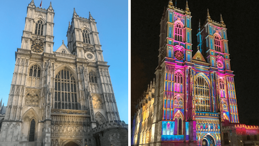 Westminster Abbey London in the daytime and lit up at night