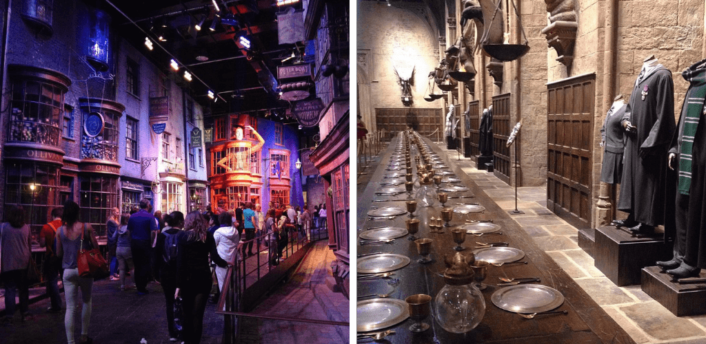 Harry Potter Warner Bros Studio, diagon alley and the great hall at Hogwarts