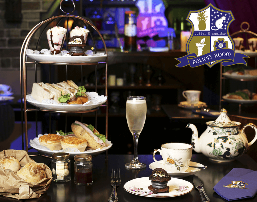 Harry Potter afternoon tea with finger sandwiches, cakes, tea and champagne