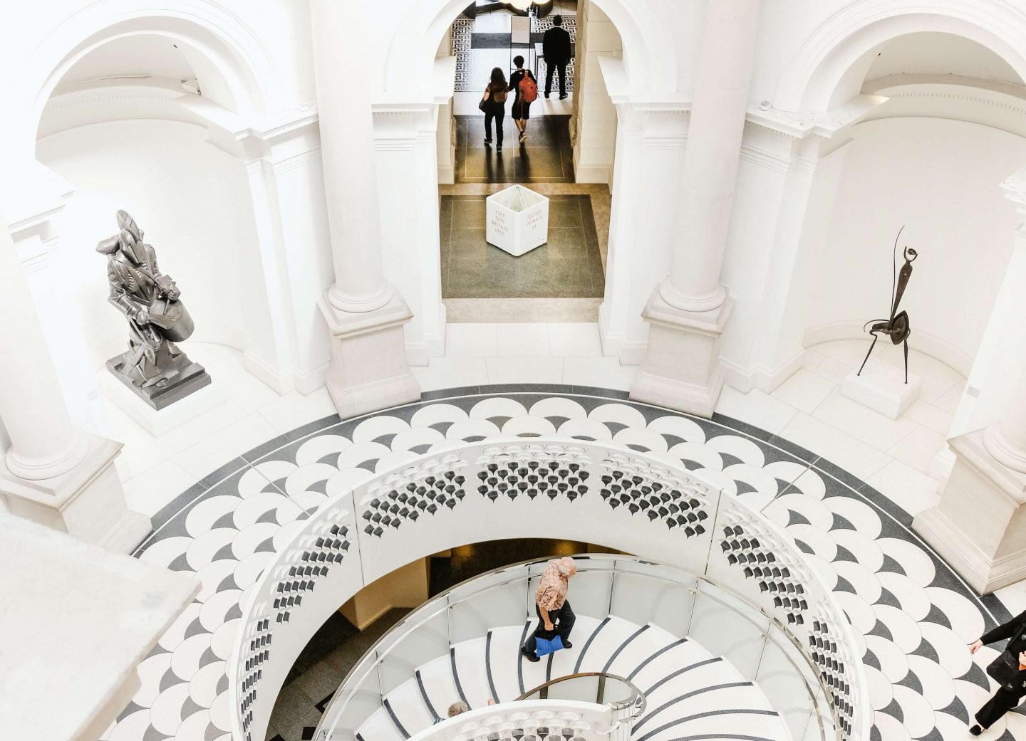 Spiral Staircase with artwork at Tate Britain London